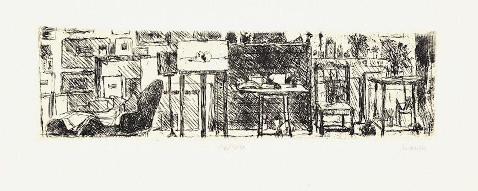 The Artist's Studio - Original Etching by Renzo Biasion - 1960s