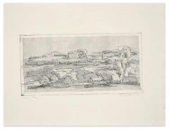Landscape - Original Etching by Fiorella Diamantini - 1962