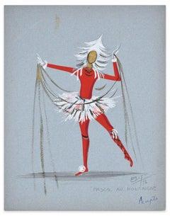 Pascal Av. Montaigne - Original Tempera on Paper by Esy Beluzzi - 1956