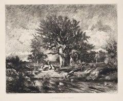 L'approche de l'Orange - Original Etching by Gustave Greux - 1863