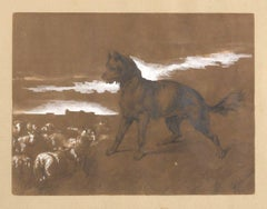 Landscape with Dog and Flock Pencil and White Lead on Brown Paper by C. Carelli