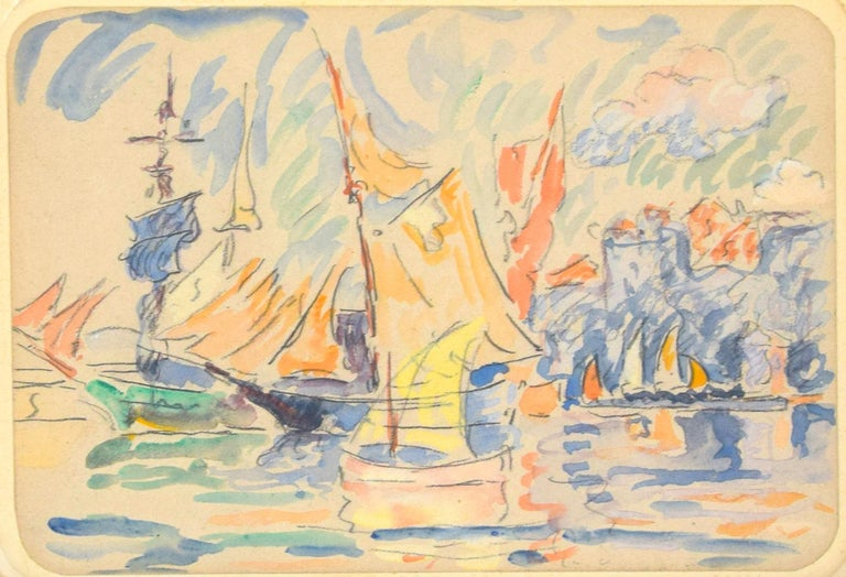 Saint Tropez - Original Watercolor Drawing by Paul Signac - 1900 ca. For Sale 1