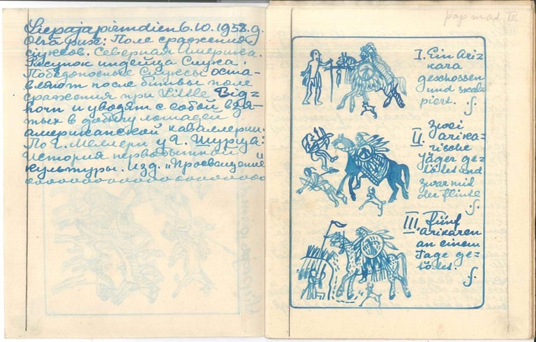 Carnet de Voyage - Sioux Indians - Illustrated Album by I. Sermonski - 1910/1950 - Art by Ivan Sermonski