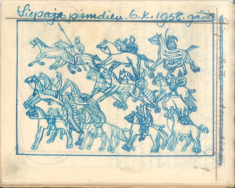 Carnet de Voyage is a wonderful original illustrated album by the Russian artist Ivan Sermoski (1889?-1963?). A beautiful manuscript with original blue ink and marker sketches representing the uses and customs of the native Americans, the Sioux