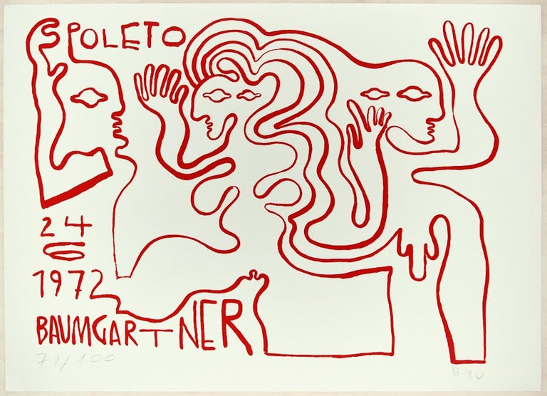Spoleto is a wonderful colored serigraph on paper, realized by the German artist Fritz Baumgartner.  Hand-signed, monogrammed and numbered in pencil on the lower margin. Edition of 100 prints. In excellent conditions: as good as new. With the