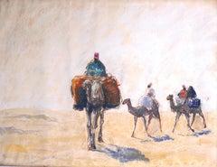 At the Libyan Desert - Original Pastel Drawing German School 1910/20