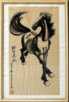 Black Horse - China Ink by Chinese Master Early 20th Century