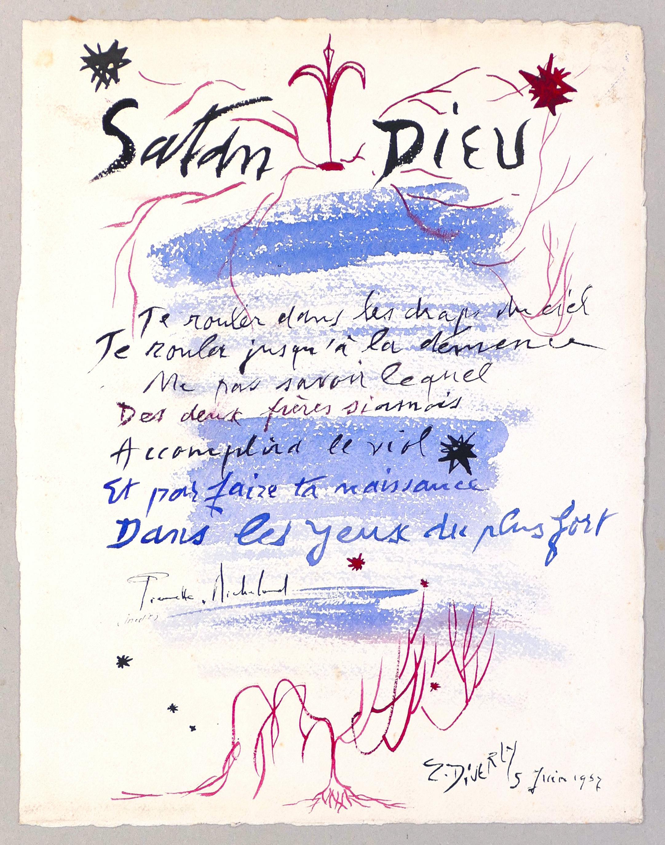 Satan Dieu du 6 Juin 1957 - Original Watercolor on Cardboard - 1957