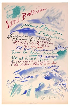 Sans Barrière - Original Watercolor on Cardboard - 1957