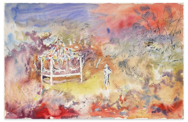 Manège Solitaire Crépuscule is an original artwork realized by Éliane Diverly in 1962.  Mixed colored watercolor and china ink.  Hand-signed by the artist on lower right corner.  Titled and dated by the artist on the back.  This drawing represents a