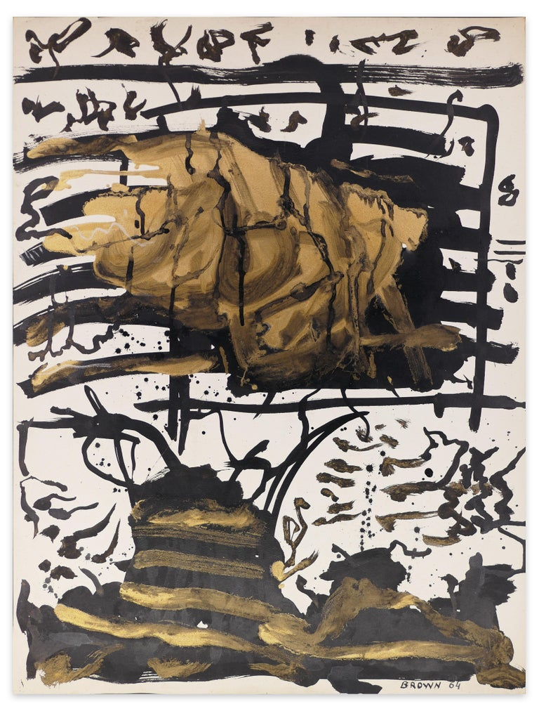 Abstract Gold Composition is an original artwork realized by James-Jacques Brown in 1964.  Original colored painting on paper.  Hand-signed and dated by the artist on the lower center.  The artwork represents a beautiful abstract composition typical