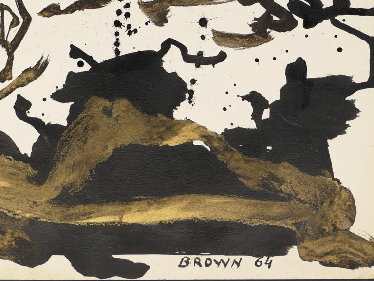 Abstract Golden Composition - Original Tempera on Paper by J.-J. Brown - 1964 For Sale 1