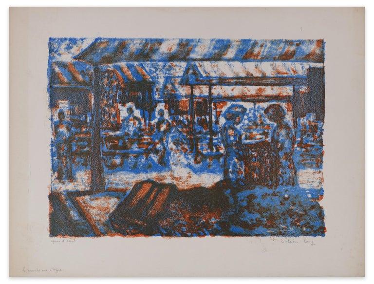 Image dimensions: 27.7 x 38 cm  The Fabric Market is an original artwork realized by Léon Lang in the 1970s.  Original colored lithograph. Artist's proof (Epreuve d'essai) hand-written on the lower left.  Original title: Le marché aux