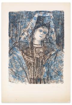 Woman With Headdress - Original Lithograph by Léon Lang - 1970s