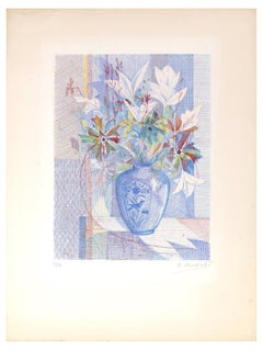 Flower Vase - Original Etching by R. Mendes France - Mid 1900