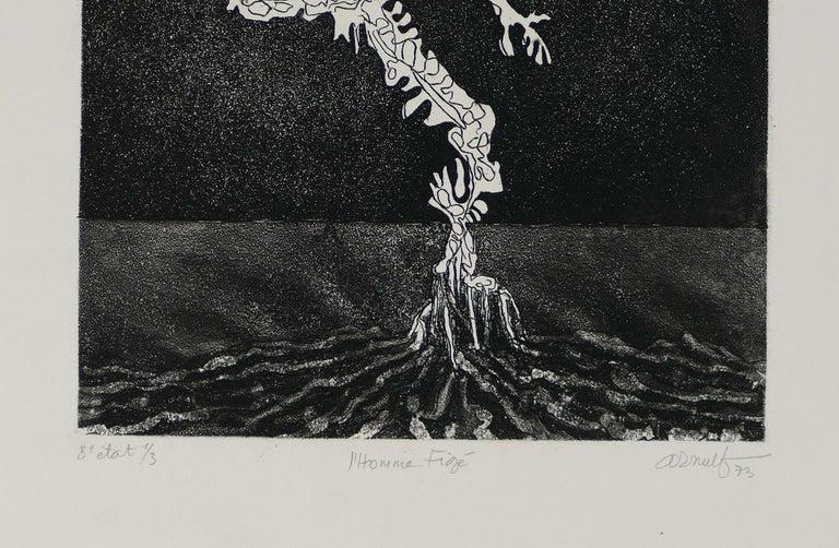 L'Homme Figé - Original B/W Etching by G. Arnulf - 1973 - Print by Georges Gaston Arnulf