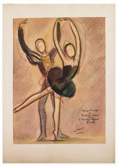 Le Lac des Cygnes - Original Oil Pastel Drawing by J. Target - 1949