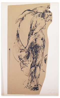 Woman - Original Pen Drawing on Paper by Paul Garin - 1950s