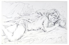 Sleeping Woman - China Ink on Paper by E. Diverly - 1970s