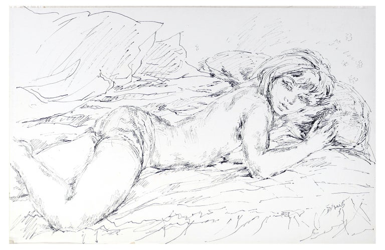Eliane Diverly Figurative Art - Sleeping Woman - China Ink on Paper by E. Diverly - 1970s
