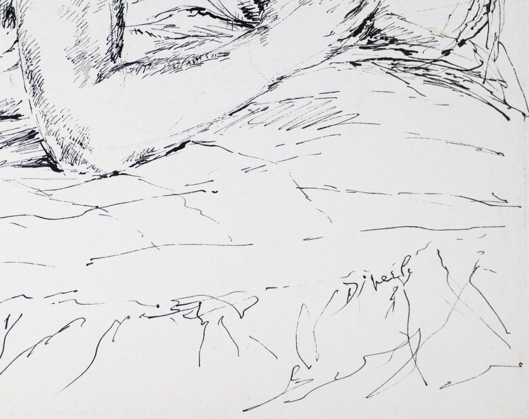 Sleeping Woman - China Ink on Paper by E. Diverly - 1970s - Art by Eliane Diverly