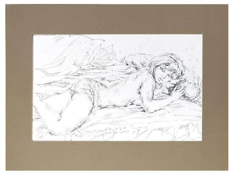 Sleeping Woman - China Ink on Paper by E. Diverly - 1970s - Contemporary Art by Eliane Diverly