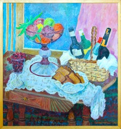 Still Life / Set Table - Original Oil Painting by A. Pincherle - 1990