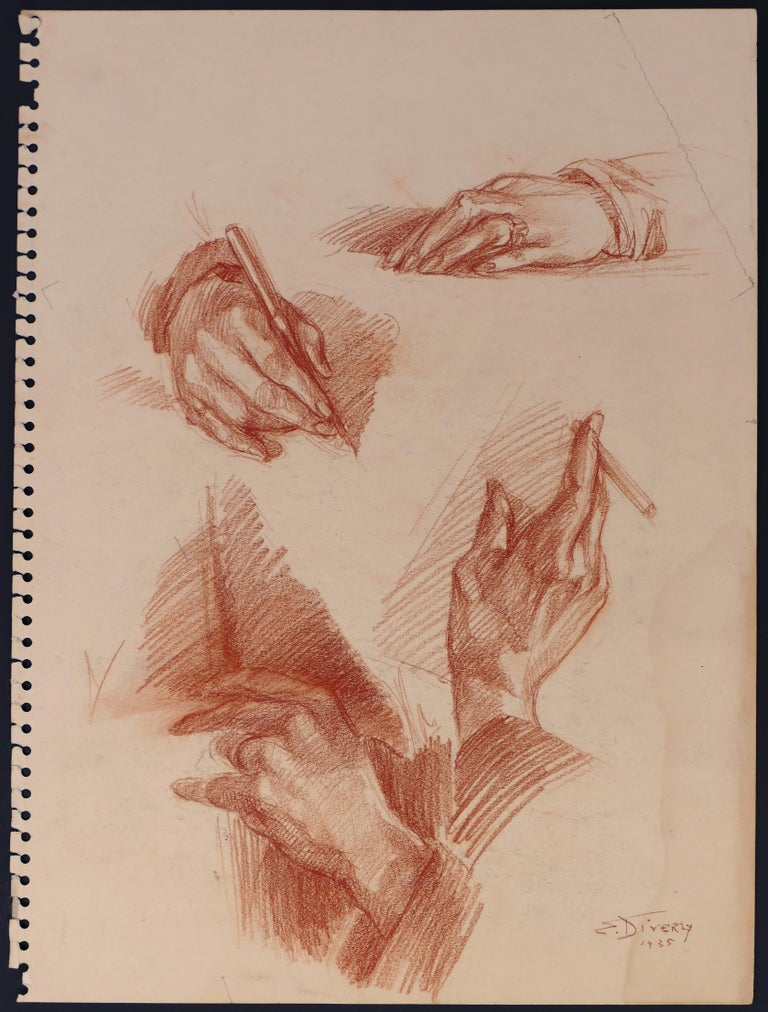 Eliane Diverly Portrait - La main de mon père - Sanguine on Paper by E. Diverly - 1935