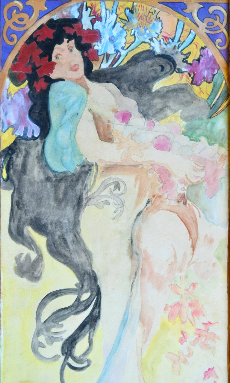 Portrait of Woman is an original artwork realized by Marcello Dudovich in 1920.  A wonderful Art Déco watercolor on paper.  Passepartout included (cm 63 x 37); wood painted frame included (cm 72 x 45).  Hand-signed on the lower left corner: M.