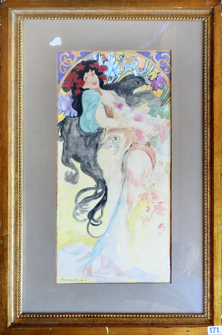 Portrait of Woman - Original Watercolor on Paper by M. Dudovich - 1920 For Sale 1