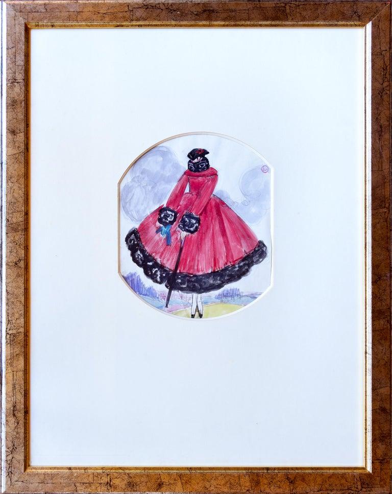 Le Manteau Rouge, Original Gouache For Sale 1