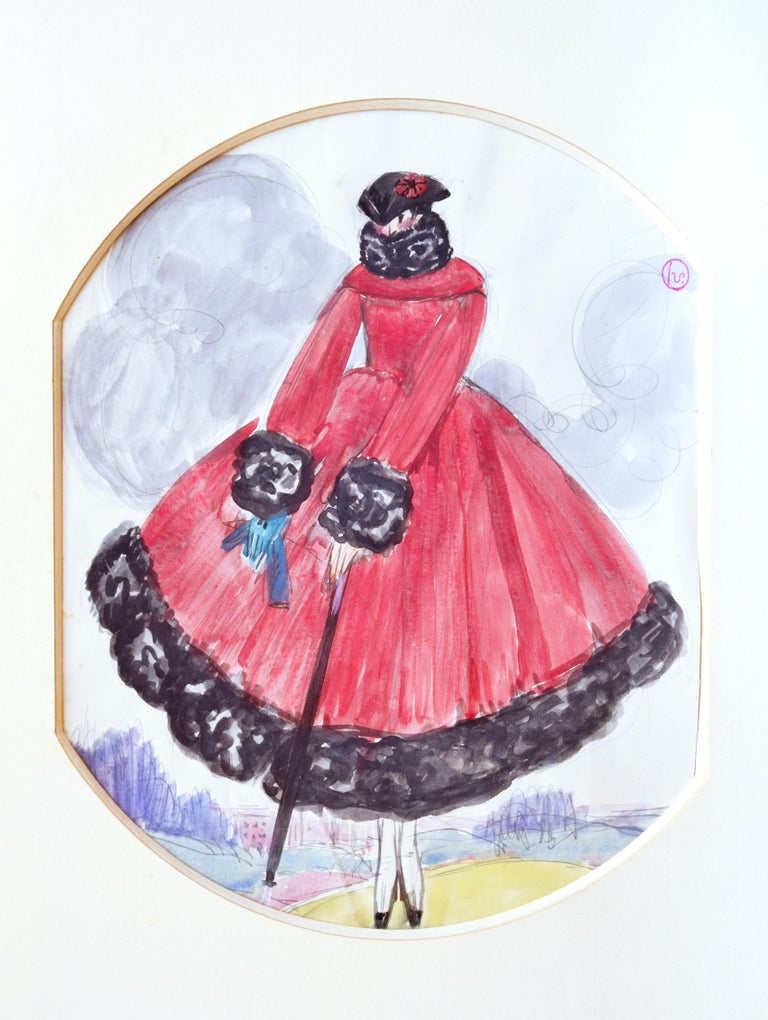 Le Manteau Rouge is an original modern artwork realized by Georges Lepape in the 1920s.  Original gouache. Passepartout included (cm 63 x 49). A wood frame is included (cm 72 x 57).  Monogrammed by the artist on the upper right corner.  Mint