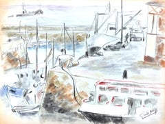Les Bateaux au Port - Original Charcoal Drawing by G. Halff - Late 20th Century