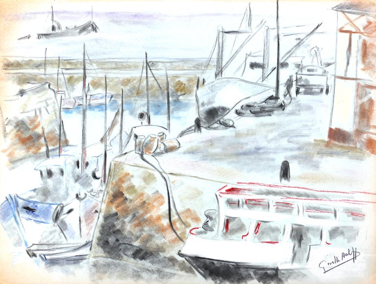 Les bateau au port is beautiful and original oil pastel and charcoal drawing on paper realized by the French artist Giselle Halff around 1990's.   Hand-signed in charcoal on lower right margin.   This original drawing represents a marine or fluvial