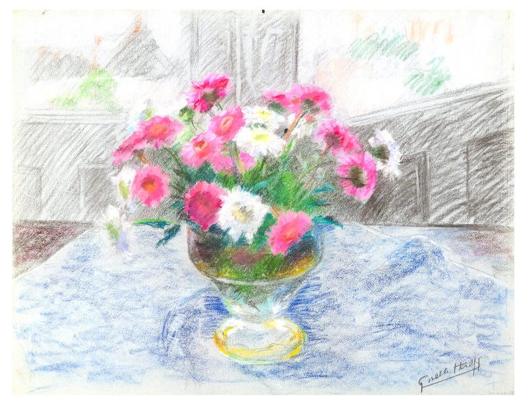 Fleurs dans un Vase is an original oil pastel drawing on paper realized by the French artist Giselle Halff in XX century.  Hand-signed in charcoal pencil on lower right margin, this is one of her favourite subjects: a colorful still life with fresh