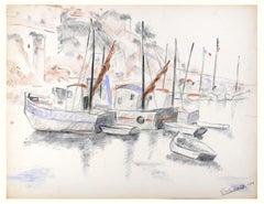 Les Bateaux - Original Charcoal Drawing by G. Halff - 1959