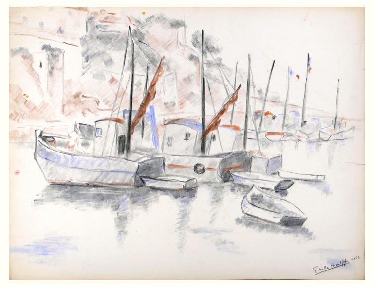 Les bateaux is a beautiful and original oil pastel and charcoal drawing on thick paper realized by the French artist Giselle Halff in 1959.  Hand-signed and dated in charcoal on lower right margin.   This original drawing represents a marine or