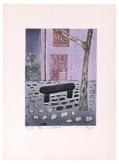 Banc De Leautaud - Original Lithograph by Jacques Joachim Jean Rigal - 1970s