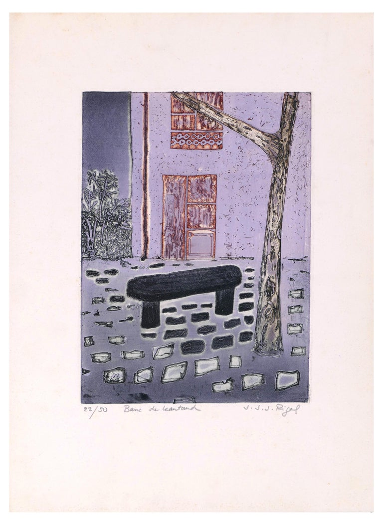 Banc De Leautaud is an original artwork realized by Jacques Joachim Jean Rigal in the 1970s.   Original colored lithograph.  Hand-signed by the artist on the lower right corner.   Numbered on lower left. Edition of 22/50.  Titled on lower