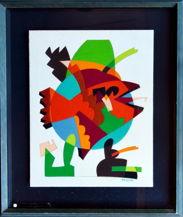 Untitled is an original contemporary artwork realized by Ugo Nespolo in 1976  Original patchwork collage. Colored cloth (felt). Hand-signed by the artist on the lower right corner: Nespolo.   Original wood frame (painted wood): 98 x 7.5 x 80 cm.