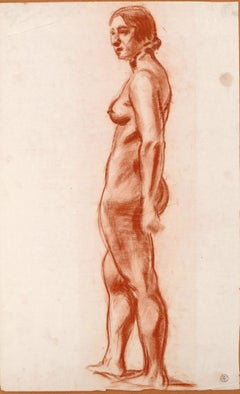 Standing Female Nude - Charcoal Drawing by M. Roche - Early 1900