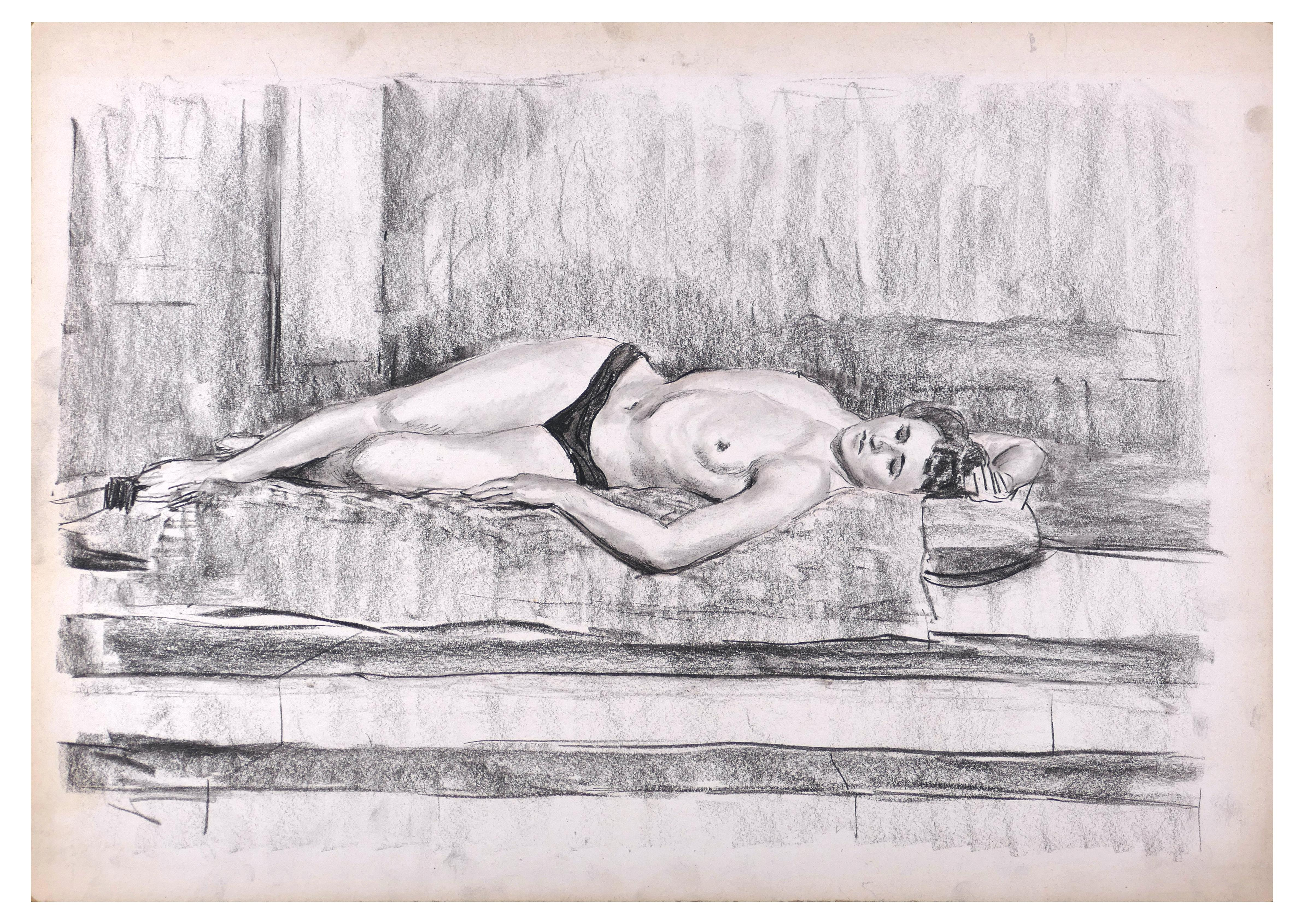 Femme Allongée - Original Charcoal  Drawing on Paper - Late 20th Century