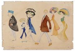 Projet d'Affiche pour le Gymkahna - Original Pencil, Ink and Watercolor - 1909