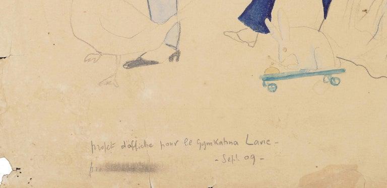 Projet d'Affiche pour le Gymkahna - Original Pencil, Ink and Watercolor - 1909 For Sale 1