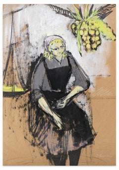 Woman With Pineapple - Original Gouache by Jeanne Esmein - 1970s