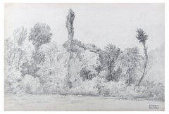 Black and White Landscape - Pencil Drawing on Paper by M.H. Yvert - Late 1800