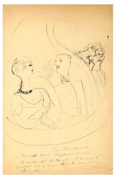 People Conversation - Original China Ink Drawing by Chas Laborde - Early 1900
