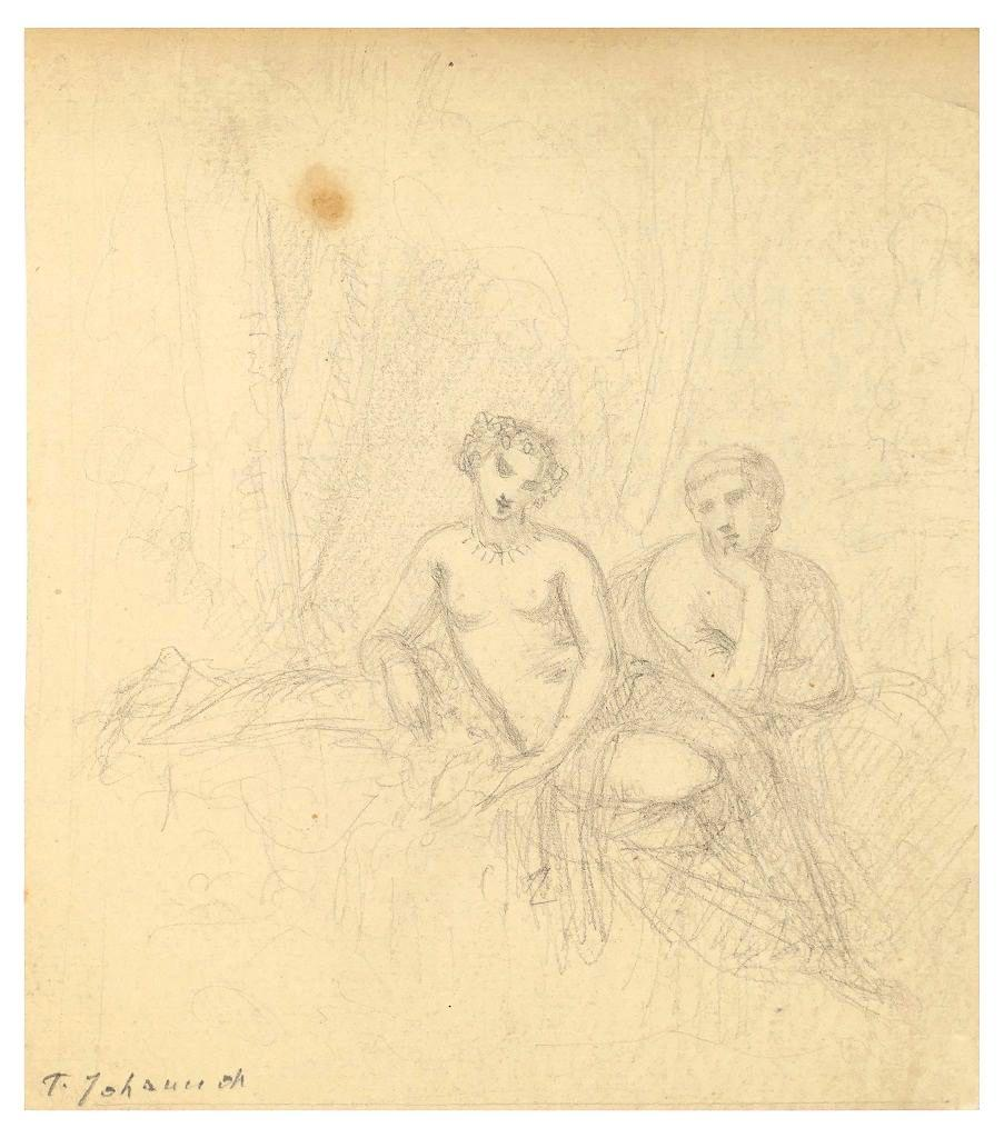 Naked Couple - Pencil on Paper by T. Johannot - Mid 19th Century