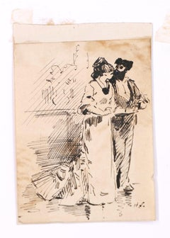Flamenco Dancers - Original Ink Drawing on Paper by H. Somm - Late 19th Century