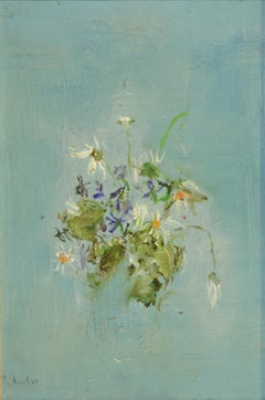 Violets and Daisies - Original Oil on Canvas by R. Acerbi - 1964
